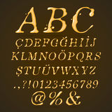 Beer, Honey and Caramel Alphabet Upper Case Italic Royalty Free Stock Photos