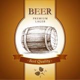 Beer with hop. barrel. Beer with hop for label, package Vector Illustration