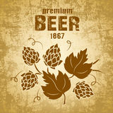Beer with hop. For label, package Stock Illustration