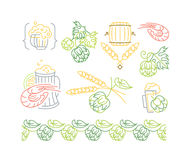 Beer, hop mono line elements for menu, package, design. Royalty Free Stock Photo