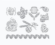 Beer, hop mono line elements for menu, package, design. Stock Photography