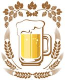 Beer and hop. Beer mug and hop on a white background Stock Image