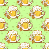 Beer and hop seamless pattern Stock Photography