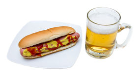 Beer and hot dog Royalty Free Stock Photo