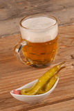 Beer with hot pepper Royalty Free Stock Image