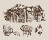 Beer house. Vector sketch of a traditional s Royalty Free Stock Photography