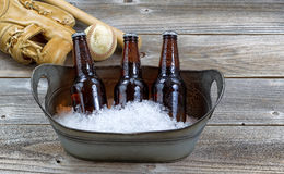 Beer on ice for baseball Royalty Free Stock Photo