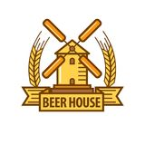 Beer icon for beerhouse brewery bar pub or product label Stock Photo