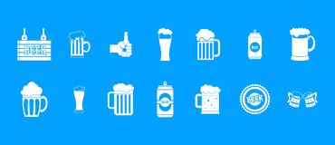 Beer icon blue set vector. Beer icon set. Simple set of beer vector icons for web design isolated on blue background Royalty Free Illustration