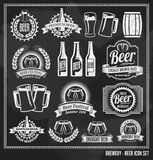 Beer Icon Chalkboard Set Stock Photos