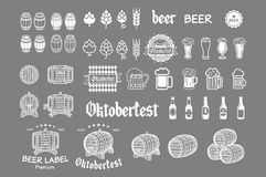 Beer icon chalkboard set - labels, posters, signs, banners, vector design symbols. Stock Images