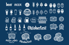 Beer icon chalkboard set - labels, posters, signs, banners, vector design symbols. Royalty Free Stock Photography
