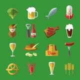 Beer Icon Flat Set Royalty Free Stock Photography