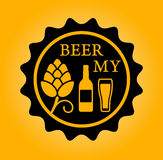Beer icon with hop glass and bottle Royalty Free Stock Images