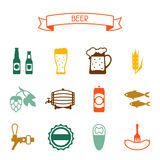 Beer icon and objects set for design Stock Photography