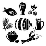 Beer icon set. Decorative beer barrel restaurant cafe mug with fish lobster snacks black icons collection abstract vector isolated illustration Royalty Free Stock Photos