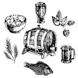 Beer icon set. Decorative beer snack bar pint glass with potato chips icons set sketch doodle abstract vector isolated illustration Royalty Free Stock Images