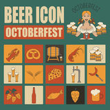 Beer icon set. Logos and badges template. Linear style. Octoberf Royalty Free Stock Images
