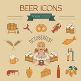 Beer icon set. Logos and badges template. Linear style. Octoberf Stock Photos