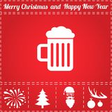 Beer Icon Vector. And bonus symbol for New Year - Santa Claus, Christmas Tree, Firework, Balls on deer antlers Stock Image