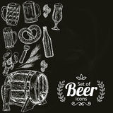 Beer icons on black background. Sketch style illustration of beer on black background. Beer drawing for pub or bar menu. Vector Vector Illustration