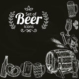 Beer icons on black background. Sketch style illustration of beer on black background. Beer drawing for pub or bar menu. Vector Stock Illustration