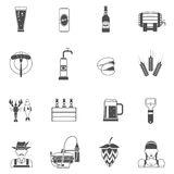 Beer Icons Black Set Royalty Free Stock Photography