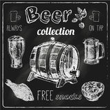 Beer icons blackboard set. Always free salted snacks tap beer bar chalk blackboard advertisement icons collection sketch vector isolated illustration Stock Photo