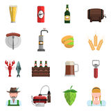 Beer Icons Flat Set Stock Photography