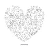 Beer icons in the form of a large heart Stock Images