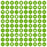 100 beer icons hexagon green. 100 beer icons set in green hexagon isolated vector illustration vector illustration