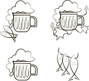 Beer icons. Mug of beer with foam, fish, branch of hops. Black lines on white background, design element, vector Stock Photos