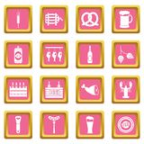 Beer icons pink. Beer icons set in pink color isolated vector illustration for web and any design vector illustration