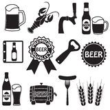Beer icons set. Beer symbols and design elements. Vector. Royalty Free Stock Photo