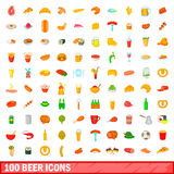 100 beer icons set, cartoon style. 100 beer icons set in cartoon style for any design vector illustration Royalty Free Stock Photos