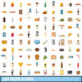 100 beer icons set, cartoon style Stock Image