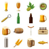 Beer icons set, cartoon style Stock Photography