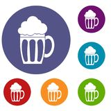 Beer icons set. In flat circle reb, blue and green color for web Stock Image