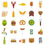 Beer icons set, flat style. Beer icons set. Flat illustration of 25 beer vector icons isolated on white background Stock Image