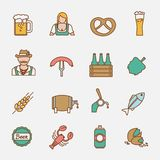 Beer icons set flat line Royalty Free Stock Photos