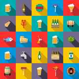 Beer icons set. In flat style for any design Royalty Free Stock Images