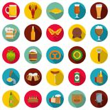 Beer icons set, flat style. Beer icons set. Flat illustration of 25 beer vector icons circle isolated on white Royalty Free Stock Photo
