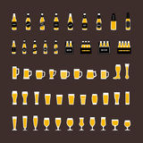 Beer icons set in flat style, bottles and glasses . Vector Stock Photography