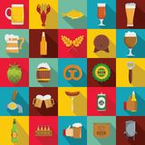 Beer icons set, flat style. Beer icons set. Flat illustration of 25 beer vector icons for web Stock Image
