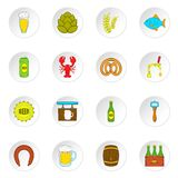 Beer icons set, flat style Royalty Free Stock Image