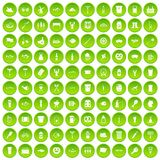 100 beer icons set green circle. Isolated on white background vector illustration Stock Photography