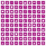 100 beer icons set grunge pink. 100 beer icons set in grunge style pink color isolated on white background vector illustration Royalty Free Stock Photos