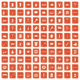 100 beer icons set grunge orange. 100 beer icons set in grunge style orange color isolated on white background vector illustration stock illustration