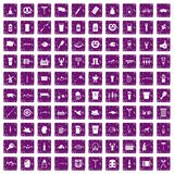 100 beer icons set grunge purple Stock Photo