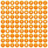 100 beer icons set orange. 100 beer icons set in orange circle isolated on white vector illustration stock illustration
